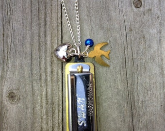 Whimsical Working Musical Harmonica Necklace