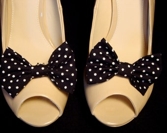 Polka Dot Black & White Bow Shoe Clips (set of two), handmade in the UK