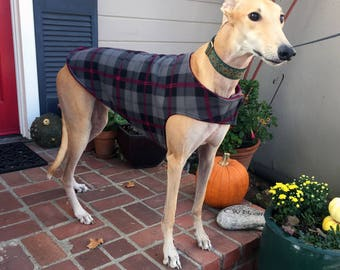 Greyhound Dog Coat, XL Dog Jacket, Cranberry, Black, Charcoal Gray, and Dove Gray Plaid Fleece with Cranberry Fleece Lining