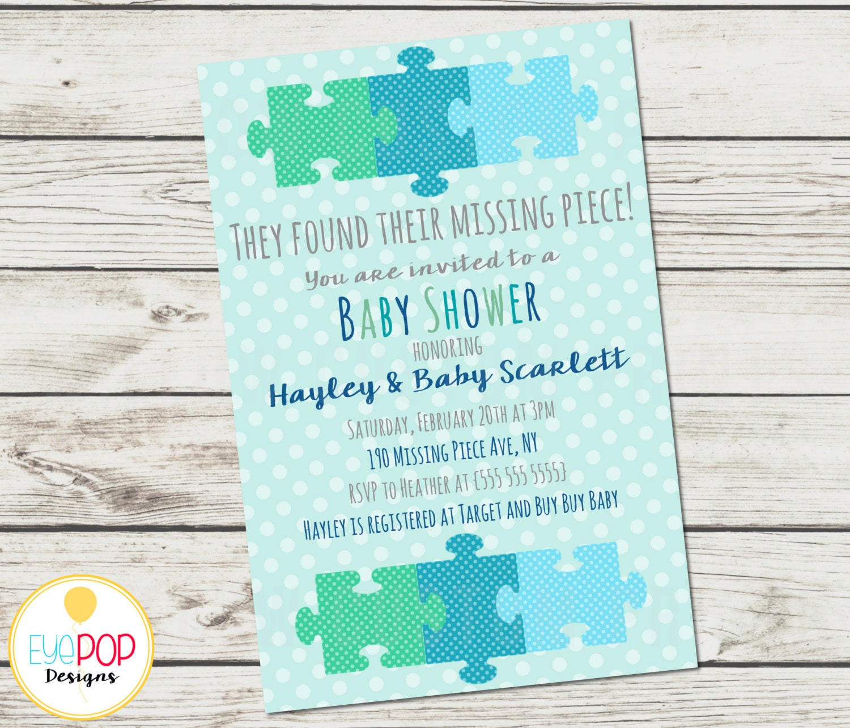 Missing Piece Invitation Baby Shower Boy Adoption