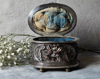 Antique French silk lined jewelry box, Napoleon III