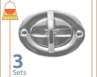 "Oval Turn Lock / Twist Lock Nickel Finish, 3 Sets, Handbag Purse Bag Making Hardware Supplies, 1-1/2"" x 1-1/8"", CSP-AA003"