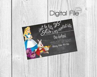 Alice in Wonderland Birthday Party Invitation (DIGITAL FILE)