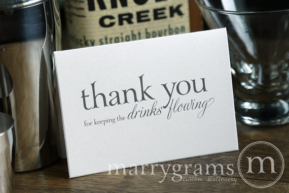 Wedding Card to Your Bartender Thank You for Keeping the