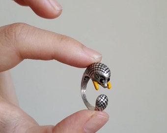 Baby Hedgehog Ring, Custom Colored Animal Wrap ring, Birthday Gift, Hedgehog Rings