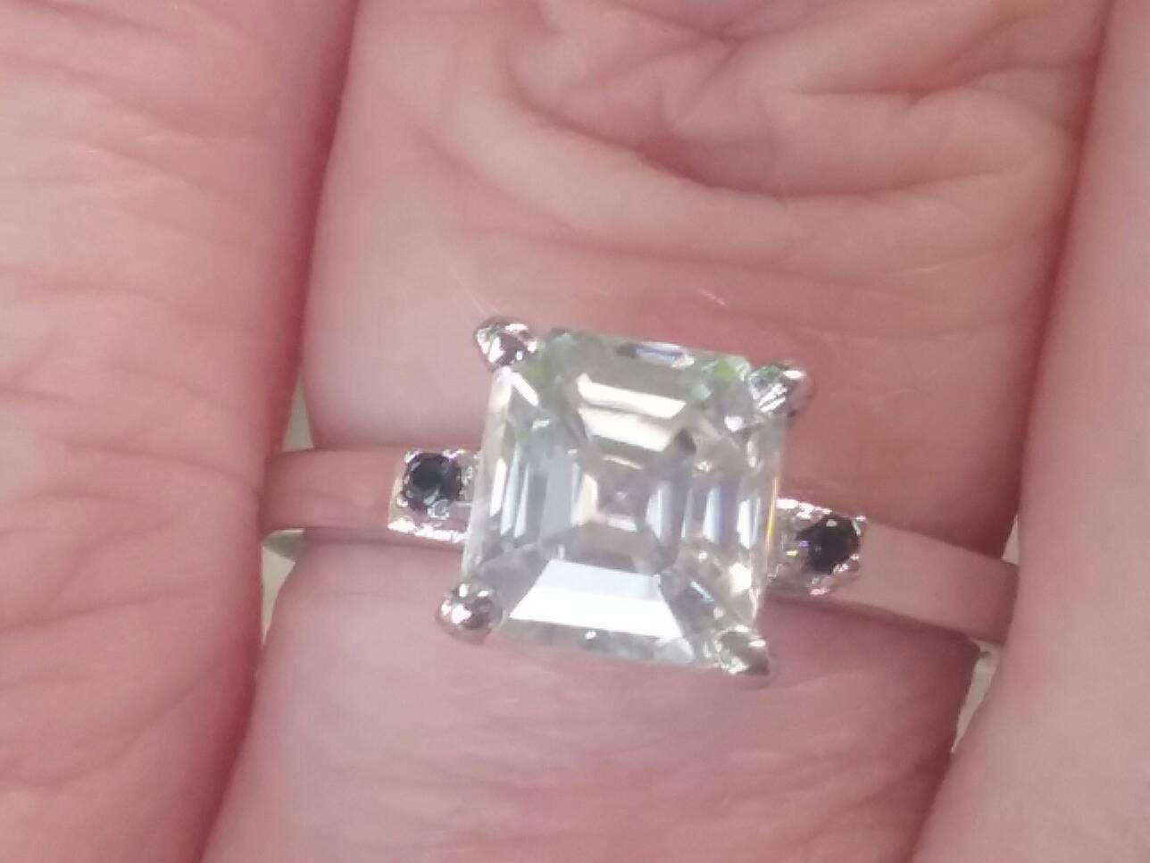 Sale Assher Cut Moissanite Engagement Ring Moissanite