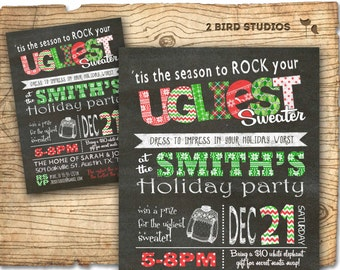 Ugly sweater invitation - holiday party invitation - Christmas chalkboard style printable invitation