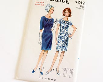 Vintage 1960s Womens Size 40 Slim Wiggle One Piece Dress Butterick Sewing Pattern 4242 FACTORY Folds Sleeve Options Knee Length,  b42 w34