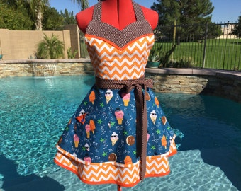 Ready to ship, Icecream Cones Sweetheart Sassy Apron with Petticoat, Womens Misses Pin Up Kitchen Apron, Bessie and The Diaryinettes print