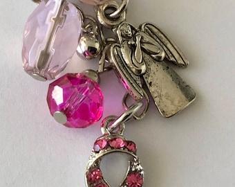 APC040  Angel Breast Cancer Awareness  Planner/TN Charm with Rhinestones