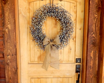 Spring Wreath-Summer Wreath-Farmhouse Home Decor-Large Burlap Door Wreath-BLUE & WHITE Wreath-Country Cottage Home Decor-Housewarming Gift