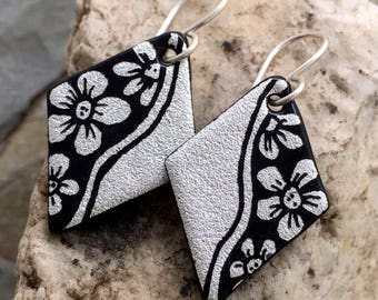 Silver & Black Flowers Hand Etched Dichroic Earrings Fused Glass and Sterling Silver Handmade Wires