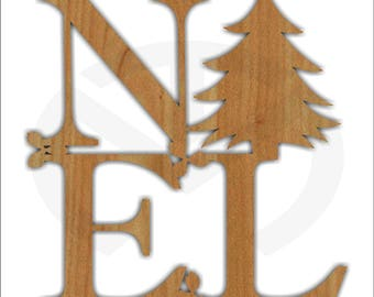 Noel Unfinished Wood Christmas Decoration, Laser-Cut, Door Hanger, Holiday, Christmas Tree