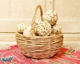 Wicker Basket Filled with Decorating Balls-Simple Country Chic Decor-Vintage Woven Basket with Handles-Spheres--Orphaned Treasure-082316B