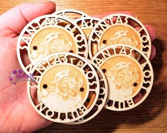 Laser cut wooden Santa's Lost Button