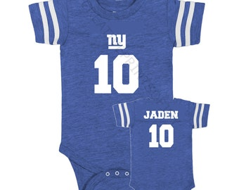 Personalized FOOTBALL inspired front/back op design jersey bodysuit! Fans NY Giants, Eagles, Patriots, GB Packers, Cowboys, Steelers + more!