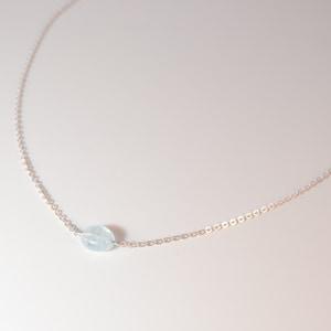 Aquamarine Necklace - Sterling Silver Aquamarine Necklace - Dainty Gemstone Necklace - March Birthstone - Something Blue Wedding Necklace