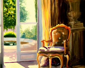 ENSOLEILLÉ, art print of an original painting of a French interior, Ornate chair, yellow drapes, window scene