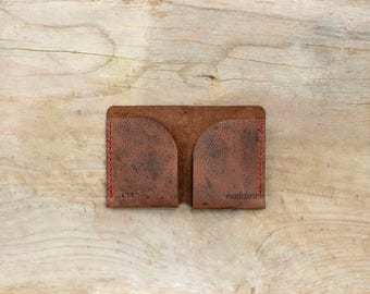 Antique Brown Minimalist Wallet, Distressed Slim Bifold Wallet / Cardholder, Perfect Gift, Personalized Leather Wallet,