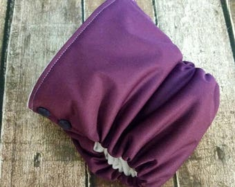 Organic Side Snap All in One Cloth Diaper Plum Solid Colors AIO PUL Sized Made to Order