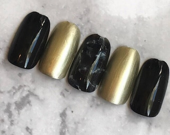 Black and Gold Marble Nails
