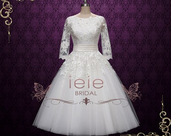 50s Retro Lace Tea Length Wedding Dress with Long Sleeves | Marlene