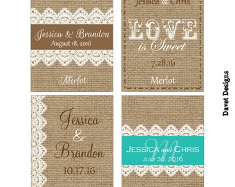 140 - 2x2.67 inch Burlap / Linen and Lace Custom Wedding Rectangle or Mini Wine Bottle Labels - hundreds of designs to choose from