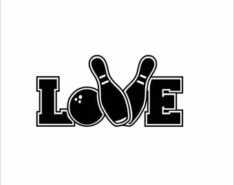 Bowling Love  Digital File  SVG, ESP, PNG, Jpg File
