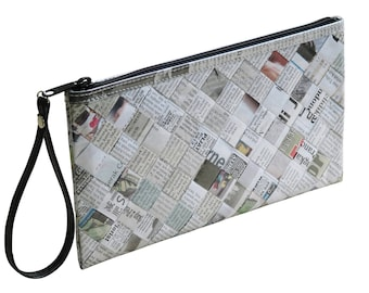 Large zip wristlet recycled newspaper, FREE SHIPPING, clutch wallet, clutch zipper Bag, Small Accessory, Wallet purse, women's wallet