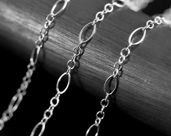 By The Inch Marquise Long and Short Argentium Sterling Silver 935 Chain 2.7 mm UNFINISHED NO CLASP