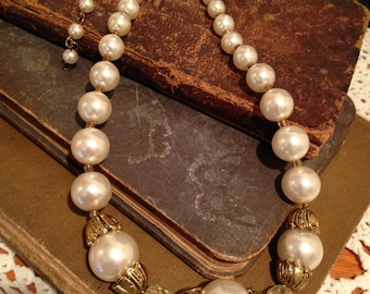 Repurposed Recycled Faux Pearl Choker Necklace