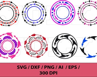 Arrow Circle Frame / Arrows svg / Arrow Cut Files / Arrow Monogram Frames / svg, dxf, ai, eps, png / Arrows clip art / Arrows svg / Arrows