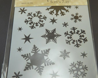 """FLAKES   5.25 x 7.25""""   snow flakes winter for chalk, spritzing, spraying, sponging paper are, mixed media and card making"""