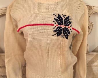 Vintage Irish Wool Ski Sweater - Women's Small - Snowflake Retro Ski Sweater