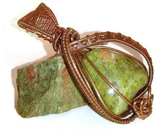 Unakite pendant, Copper wire wrapped pendant, Handmade item
