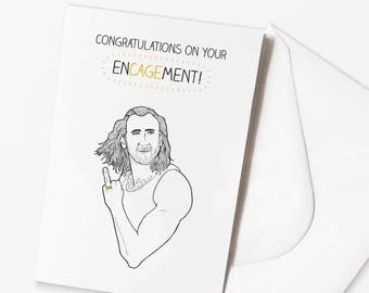 Funny Engagement Card | Nicolas Cage Pun | Con Air