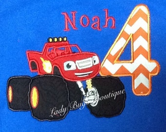 Blaze Birthday Shirt with Number and Name*****Please Read Shop Announcement*****