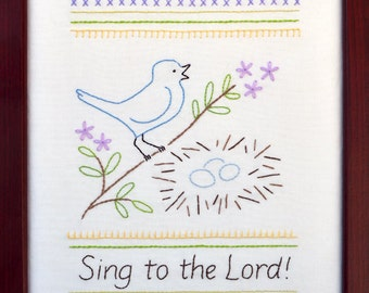 Sing to the Lord - Beginner Sampler - 100% Cotton Embroidery Pattern