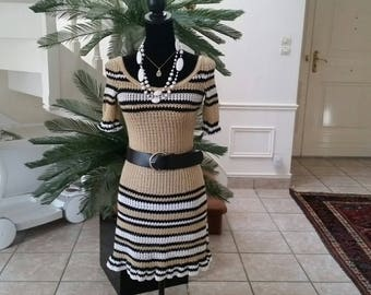 Crochet beige with black and white stripes dress