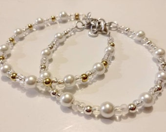 Glass Pearl Bead Women's Bracelet with silver or gold plated accent beads. Adjustable clasp