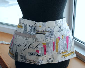 Vendor Apron Server Apron Travel  Cityscape Beige Cotton Twill New York Paris London