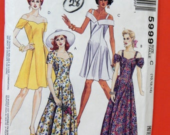 McCall's 5999 Fancy 1990's dress pattern with sweetheart neckline Sizes 10, 12 and 14