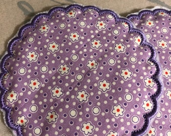 Set of 2 NEW Embroidered quilted coasters purple FLOWERS