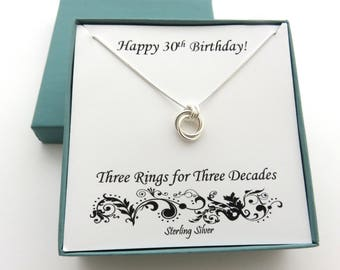 30th Birthday for Her, Sterling Silver Necklace, 30th Birthday, Three Rings Necklace, Best Friend 30th Birthday Gift, MarciaHDesigns, MHD