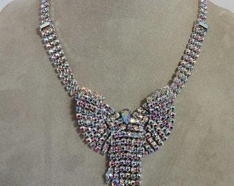 Beautiful Large Aurora Borealis Bib Rhinestone Necklace w/ Fringe    OD14