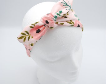 Pink Flower Top knot baby headband, hair tie, head-wrap, one size fits all, baby bow, baby shower gift, adjustable size, Mommy & Me Set