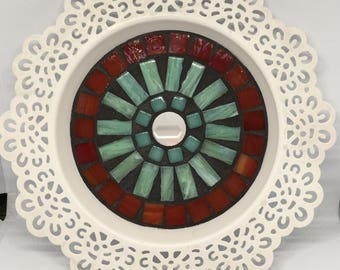 Ornate White, Stained Glass Candle Holder
