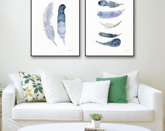 Set of blue minimalist feather giclee art prints. Watercolor paintings. Blue home decor art. Modern contemporary wall art. Coastal prints.