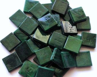 "ON SALE1 15mm (3/5"") Malachite Dark Green Opaque Glass Mosaic Tiles//Mosaic Supplies//Mosaic"