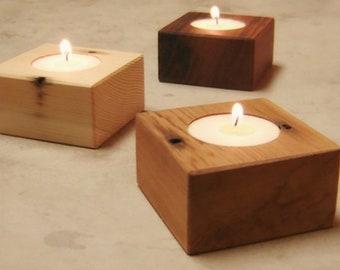 Simple Reclaimed Wood Tea Light Holders - Set of 3